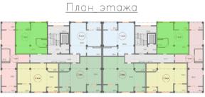 Квартиры 63 кв. м на плане этажа ЖК Санаторный Саки Крым