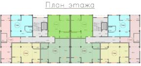 Квартира Стандартной планировки 66 кв м на плане этажа ЖК Санаторный Крым Саки