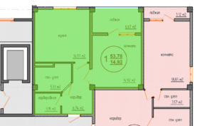 Планировка квартиры 55 кв м ЖК Санаторный, Саки, Крым